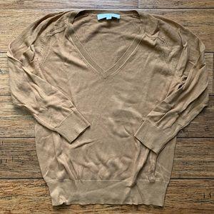 Camel Tan V Neck Pullover Sweater
